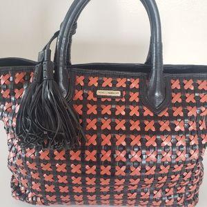 Rebecca Minkoff Black Orange Weaved Bag Tassels